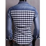 Snap Button Up Plaid Insert Denim Shirt deal