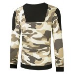 cheap Crew Neck Camouflage Side Zipper Long Sleeve Sweatshirt