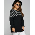 cheap Striped Plus Size Tunic T-Shirt with Pocket