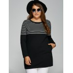 Striped Plus Size Tunic T-Shirt with Pocket deal