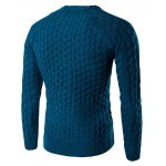 cheap Textured Crew Neck Slim Fit Pullover Sweater