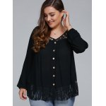 cheap Plus Size Lace Trim Single Breasted Blouse