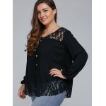 Plus Size Lace Trim Single Breasted Blouse deal