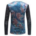 V Neck Floral Jacquard T-Shirt deal