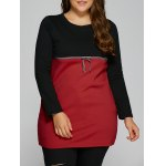 Plus Size Tunic Color Block Panel T-Shirt