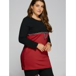 best Plus Size Tunic Color Block Panel T-Shirt