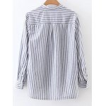 cheap Pocket Striped Lace Up Blouse