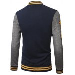 cheap Stand Collar A Pattern Rib Spliced Baseball Jacket