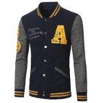 Stand Collar A Pattern Rib Spliced Baseball Jacket 11027