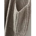 best Collarless Double Pockets Knitted Cardigan