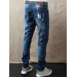 Zipper Fly Mid Waist Scrawl Printed Jeans for sale