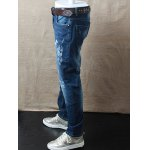 cheap Zipper Fly Mid Waist Scrawl Printed Jeans