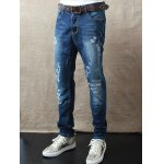 Zipper Fly Mid Waist Scrawl Printed Jeans