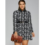 cheap Plus Size Houndstooth Belted Dress