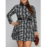 Plus Size Houndstooth Belted Dress