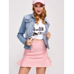 cheap Double Button Pockets Denim Jacket