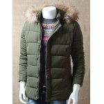 cheap Zipper Button Padded Jacket with Dismountable Hood