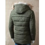 Zipper Button Padded Jacket with Dismountable Hood for sale