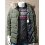 Zipper Button Padded Jacket with Dismountable Hood deal