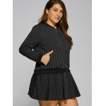 Patch Design Striped Baseball Jacket and Skirt deal