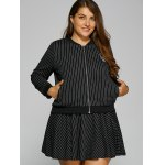 cheap Patch Design Striped Baseball Jacket and Skirt