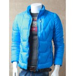 cheap Textured Stand Collar Zipper Up Quilted Jacket