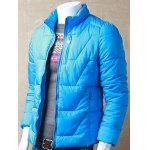 Textured Stand Collar Zipper Up Quilted Jacket deal