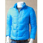 Textured Stand Collar Zipper Up Quilted Jacket