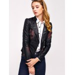 cheap Butterfly Print Faux Leather Zip Jacket