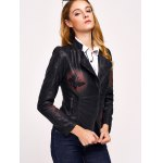 Butterfly Print Faux Leather Zip Jacket deal