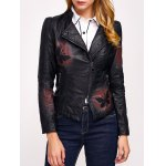 Butterfly Print Faux Leather Zip Jacket
