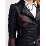 Butterfly Print Faux Leather Zip Jacket photo