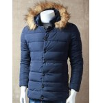 Zipper Button Quilted Jacket with Hood