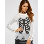 cheap Halloween Frayed Bone Pattern Knitwear