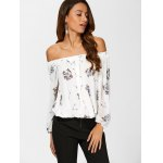 cheap See Through Chiffon Floral Off The Shoulder Blouse