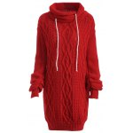 Turtleneck Long Sleeve Cable Knit Sweater Dress