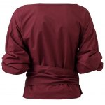 cheap Belted Puffed Sleeve Crossover Blouse