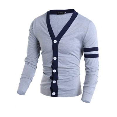 Korean Style V-Neck Color Block Stripes Purfled Design Long Sleeves Cotton Blend Cardigan For MenMens Sweaters &amp; Cardigans<br>Korean Style V-Neck Color Block Stripes Purfled Design Long Sleeves Cotton Blend Cardigan For Men<br><br>Collar: V-Neck<br>Material: Cotton, Polyester<br>Package Contents: 1 x Cardigan<br>Sleeve Length: Full<br>Style: Casual<br>Technics: Computer Knitted<br>Type: Cardigans<br>Weight: 0.272kg
