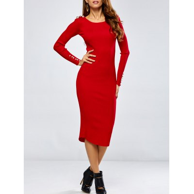 Buttoned Pencil Knitting Dress