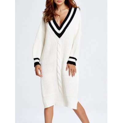 V Neck Oversized Slit Longline Jumper Dress