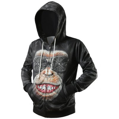 Zip Up Side Pocket 3D Gorilla Printed Hoodie
