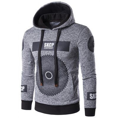 Graphic and Geometric Print Cotton Blends Drawstring Hoodie