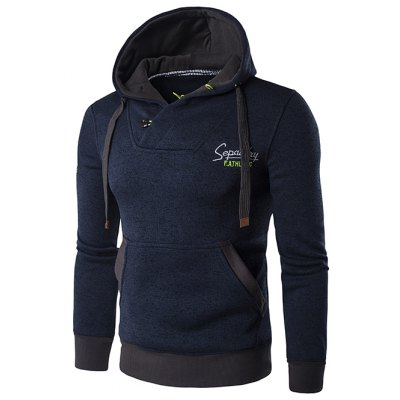Graphic Embroidery Cotton Blends Drawstring Hoodie