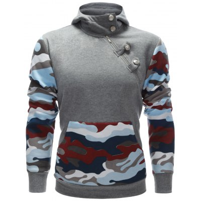 Camo Insert Buttoned Side Zip Up Hoodie