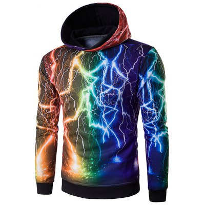 Hooded 3D Colorful Lightning Print Hoodie