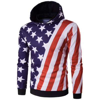 Hooded 3D Stars and Oblique Stripes Print Hoodie
