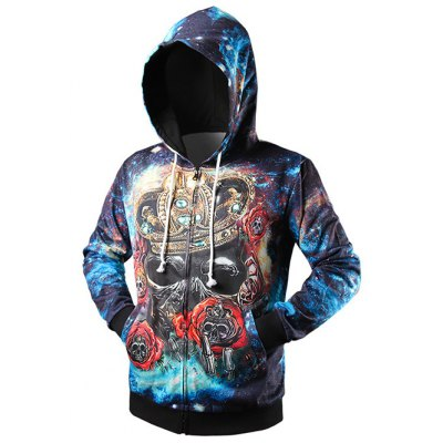 Side Pocket Crown Skull 3D Print Zip Up Hoodie