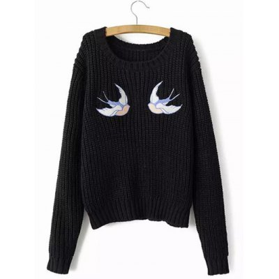Swallow Embroidery Jumper Sweater