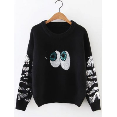 Sequined Eyes Jumper Sweater