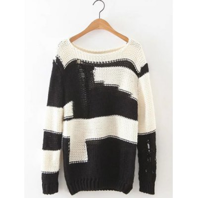 Ripped Two Tone Jumper Sweater